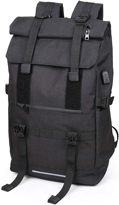 Men RollTop Backpack Large Capacity Backpack Fashion Men's Travel Bag Backpack Outdoor Sports Travel Bag Mountaineering Bags (color   Black)
