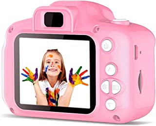 Mixi Kids Digital Video Camera Toys for Girls Age 3-8, Toddler Cameras Mini Cartoon Pink Rechargeable Camera Shockproof 8MP HD Toy Cameras Child Camcorder Include 16GB Memory Card