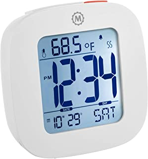Marathon CL030058WH Small Compact Alarm Clock with Repeating Snooze, Light, Date and Temperature Travel Collection. Batteries Included. Color - White.