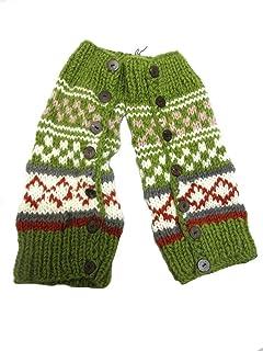 エスニックレッグウォーマーボタン&ウール手編み