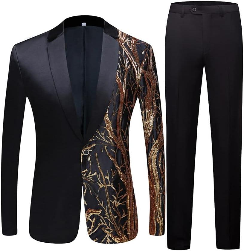 GYZX Men's Black Sequin Party Blazer Slim Fit Singer High Density Sequined Blazer Suits (Color : Black, Size : Size 42(L))