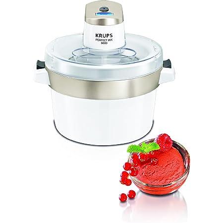 Krups Perfect Mix 9000 Sorbetière, Crèmes glacées, Sorbets, Yogourts glacés, Capacité 1,6 L, Fonctionnement automatique, Ecran LCD, Couvercle anti-éclaboussure, Facile à nettoyer GVS241