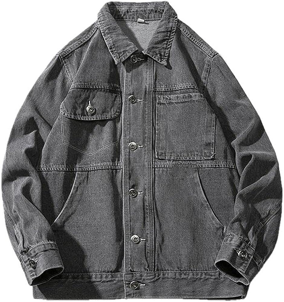 Fall Free shipping Men's Large Size Denim Jacket Sing Color Lapel Loose Regular store Casual