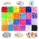 VICOVI 1000+pcs Pony Beads Kit for Bracelet Jewelry Making, Hair Beads, Include 23 Colors Rainbow Beads(9mm), 260 Letter Beads, 50 Color Beads, 20 Heart & Star Beads and Rolls Elastic String.
