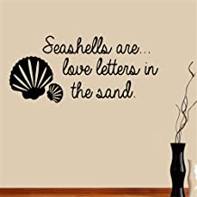 Tiuep Wall Stickers Art DIY Removable Mural Room Decor Mural Vinyl Seashells are Love Letters in The Sand for Living Room Bedroom