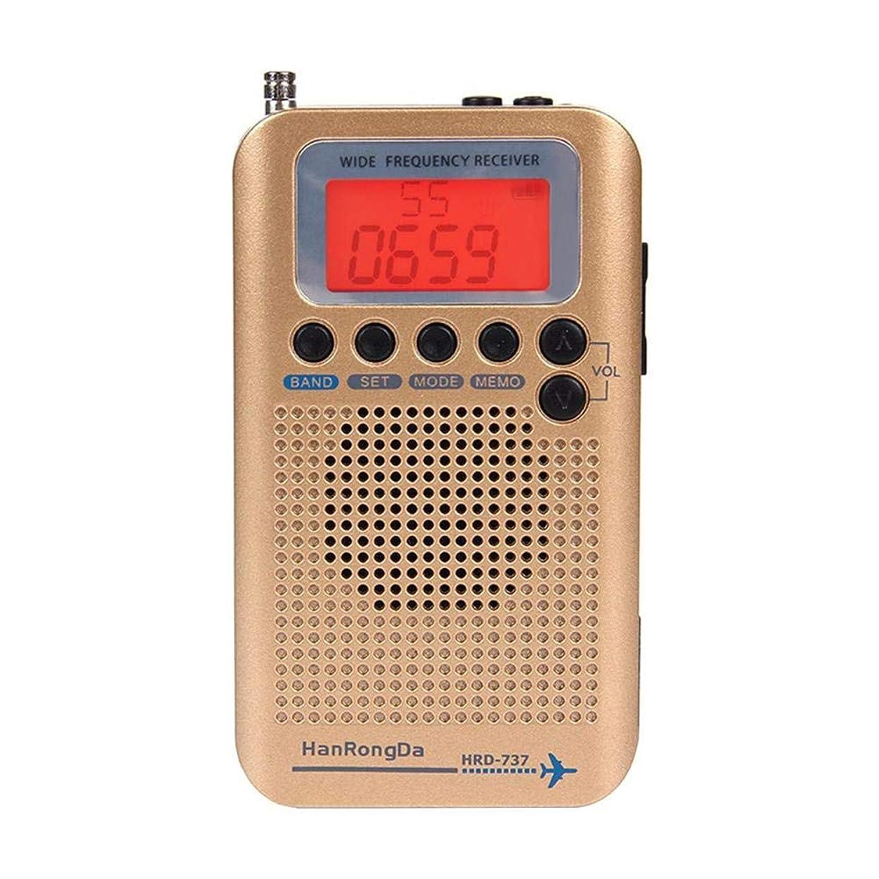 銅露出度の高い柔らかさMacrorunjp シンセサイザーラジオ レコーダー LCDスクリーン 目覚まし時計 便携 ステレオ FM/AM/SW/VHFに対応 ゴールド