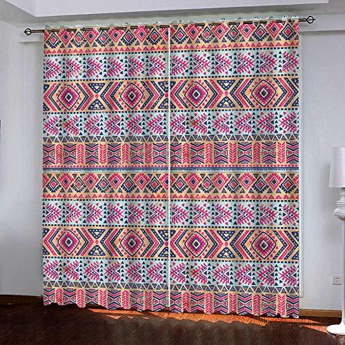 JCbedding Vorhang Blickdicht Gardinen mit Ösen Böhmischer Stil rot Muster Eleganter Verdunkelungsvorhang Thermovorhang für Wohnzimmer Schlafzimmer & Kinderzimmer Gardine (140x160cm)