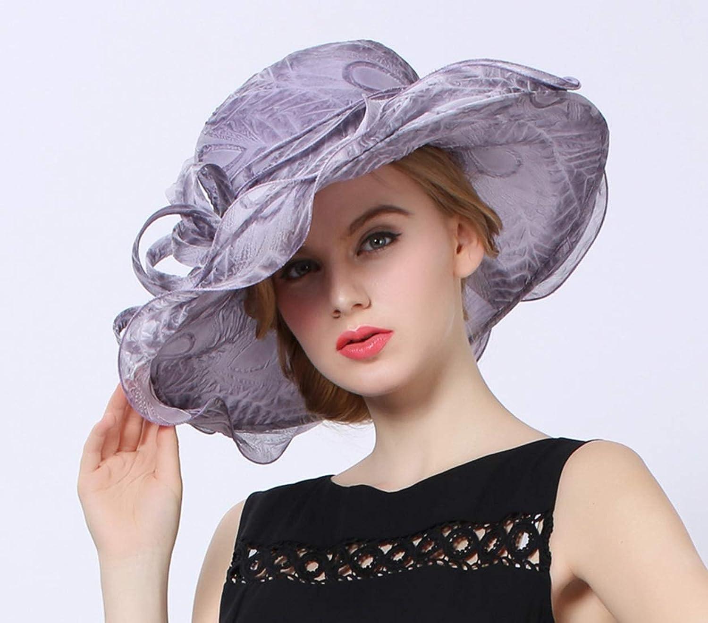Big Along Female Hat Summer Pure color Flower Decoration Gauze Cap (color   Grey)