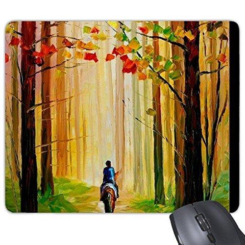 Herfst esdoorn bos rijden paard op weg olieverfschilderij rechthoek anti-slip rubber muismat spel muis pad cadeau