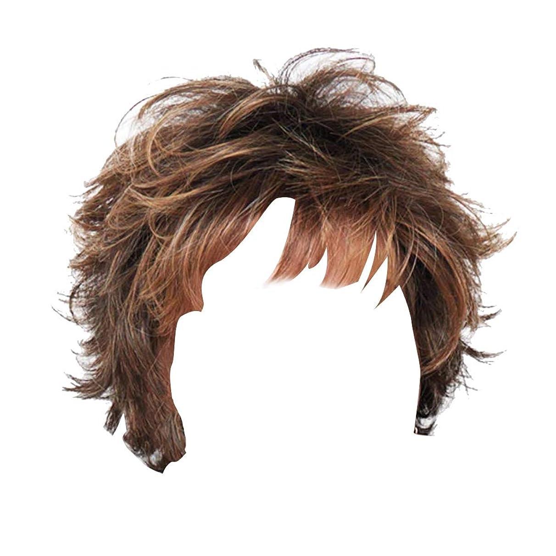 脅迫苦悩リングバックCUHAWUDBA ショートブラウンカーリーフェイクヘアアフリカの小さな巻き髪女性用合成ストレート中編コスプレフル耐熱ファイバー