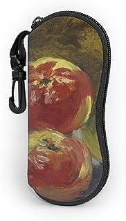 油絵 果物 りんご メガネケース 眼鏡ポーチ 小物入れ コンパクト 筆箱 フック付き ファスナー式