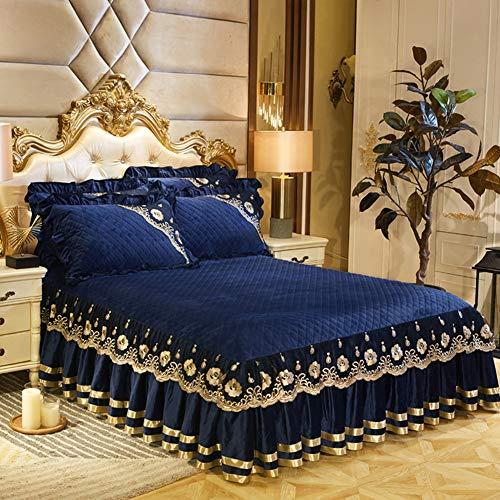 Luxus Velvet Bettdecke, Dick Gesteppt Tagesdecke Staub Rüsche Bettvolant 3 Seitenabdeckung Frilled Valance Fitted Sheet,rutschfeste Weich Knitterfrei Plissee Bettvolant-blau A 150x200cm(59x79inch)