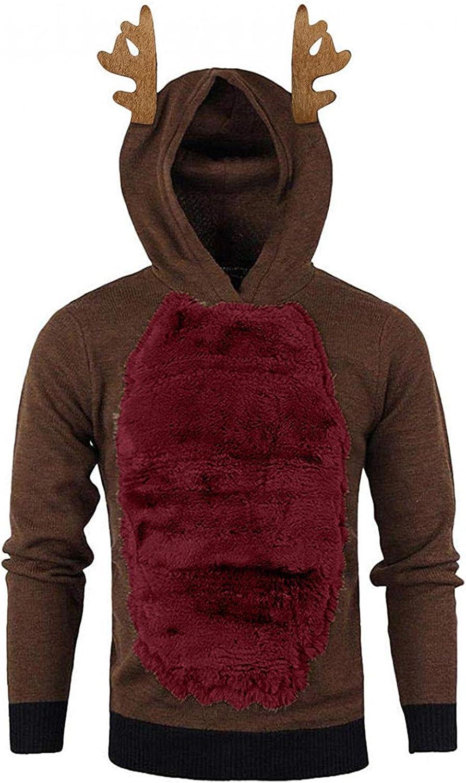 XUNFUN Men's Christmas Reindeer Hoodies Funny Xmas 3D Antlers Hooded Sweatshirt Splice Warm Fur Long Sleeve Tops Blouse