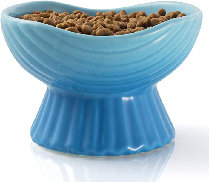 Raised Cat Food Bowl, Elevated Cat Bowl for Indoor Cats, 10 oz Ceramic Cat Food Dish for Protecting Spine Relieving Whisker Fatigue and Anti-Vomiting, Dishwasher Microwave Safe, 5.3 Inch, Blue