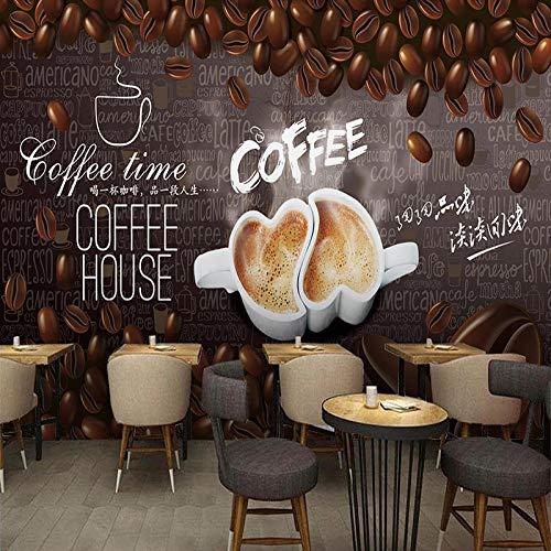 3D Vlies-Tapeten Fototapete Liebe handgezeichneten Kaffee Wandbild Wandtapete Moderne Wanddeko Wohnzimmer Schlafzimmer Büro Flur 200x150 cm
