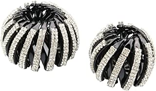 Moveagogo 2PCS Ponytail Holder Hair Accessory Expandable Double Rows clear Rhinestone Bird Nest Hair Clip For women Girls...