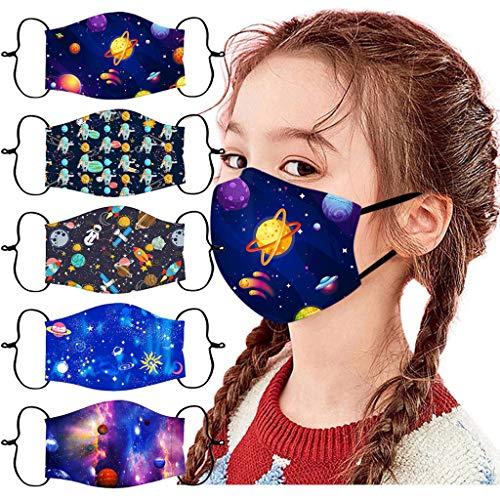 SH07 5PCS Kindermasken M-asken Schutzmaske Kinder Mundschutz 3D Druck-Maske-Sternenklarer Himmel Print Atmungsaktive Baumwolle Wiederverwendbar Stoffmaske Waschbar Mund-Nasen Bandana Halstuch (E)