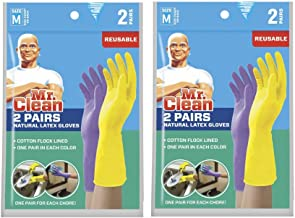 Mr Clean Natural Latex Gloves - Cotton Flocked Lined - 2 Pairs, 2 Colors Per Pack - 2 Packs - Total of 4 Pairs of Gloves