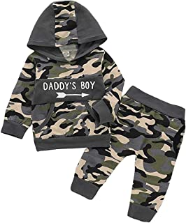 itkidboy Baby Boy Clothes Long Sleeve Daddy's Boy Printed Top Hoodie and Camouflage Pants Outfits Set