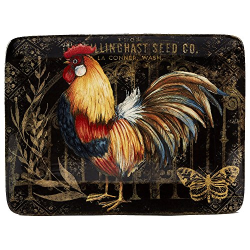 Certified International 16' x 12' Gilded Rooster Rectangular Platter, One Size, Multicolor