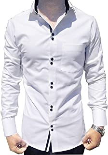 Parth Fashion Men's Cotton Casual Fancy White Shirt for Men Full Sleeves