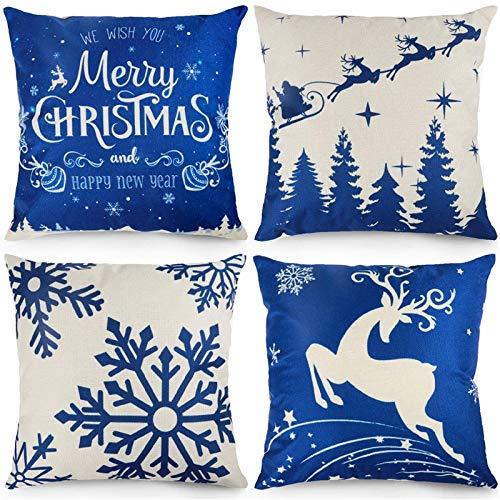 Fanuse Weihnachten Winter KissenbezüGe Blaue Schneeflocken 18X18 Zoll Dekorative üBerwurfkissenbezug...