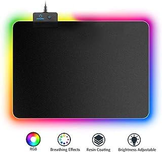 AIRENA RGB Alfombrilla de Ratón con LED de 7 Colores,14 Modo de Iluminación, Mousepad Brillante Teclado Antideslizante para Computadora/Mac/PC y Reproductor