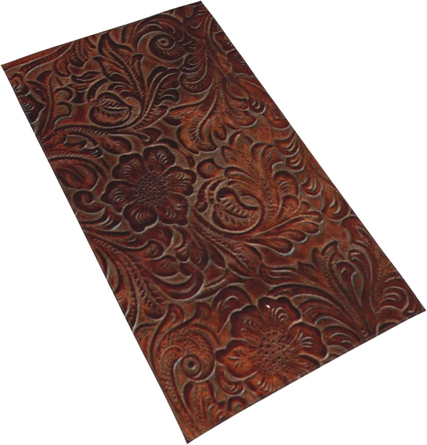 Burnished Rich Brown Tooled Max 43% OFF Leather Towels Bath Pattern Our shop most popular Tow Face
