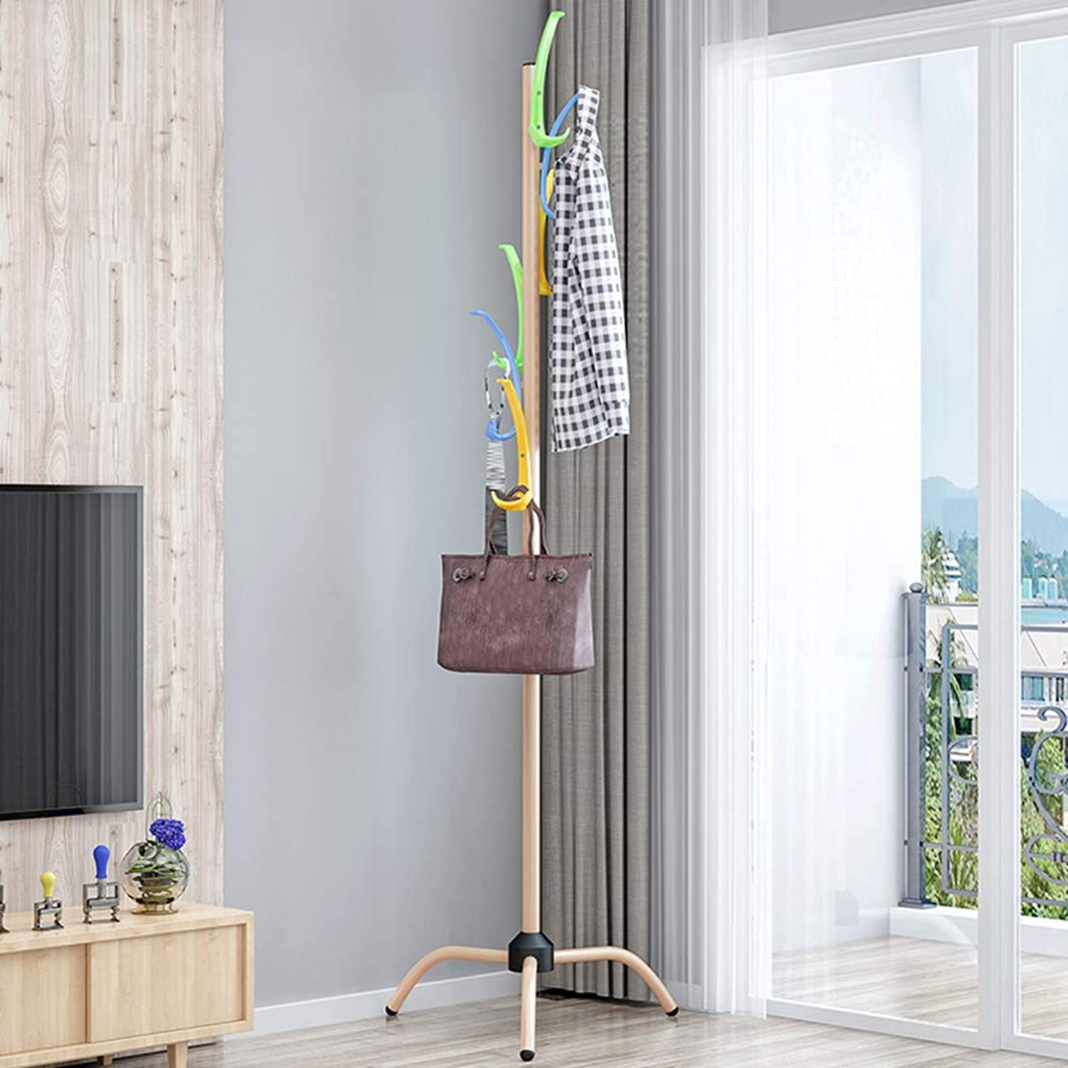 Chunlan Coat rack 183CM Metal Coat Rack Freestanding Foyer Office 3 Layers 12 Hook Clothes Bag Scarf and Hat Rack (color   Champagne color)