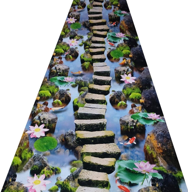 ZRUYI Alfombras De Pasillo Largo Entrada Felpudos Moqueta Corrojoor 3D Camino del Rio Modelo Adecuado para Puerta Pasillo Almohadilla De Entrada Lavable, Múltiples Tamaos