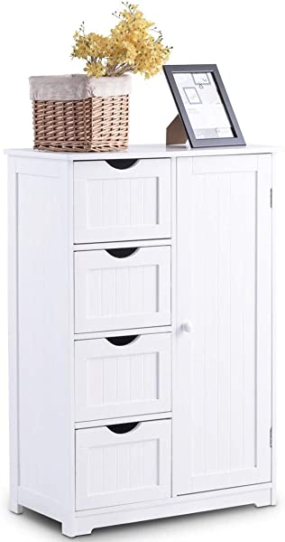 LHONE Bathroom Wooden Floor Cabinet Storage Organizer Cabinet With 1 Door And 4 Drawers White