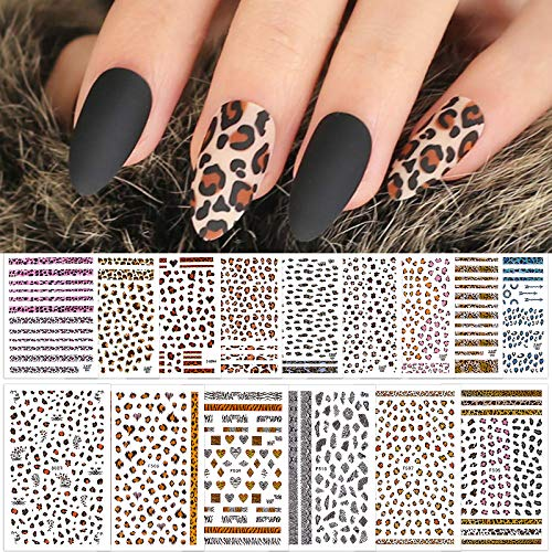 Kalolary 15 Hojas Leopard Print Nail Art Stickers, 3D Pegatinas de Uñas Autoadhesivas con Estampado Animal Sexy Calcomanías para Decoración de Uñas para Diseño de Uñas Femenino