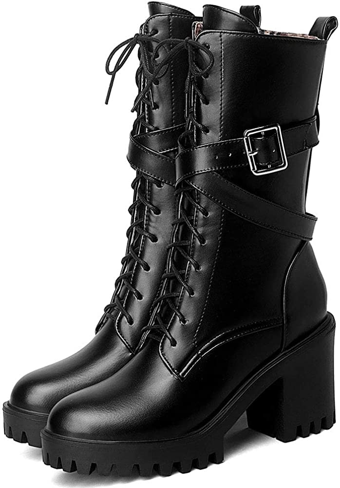 cynllio Women's Round Toe Platform Chunky High Heel Mid Calf Boots Lace-up Military Combat Boots