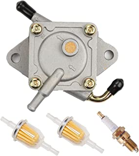 Podoy Club Car Fuel Pump for Gas Golf Cart Tune Up Kit with Fuel Filter Spark Plug DS Precedent from 1984 to Present 290FE 350FE Compatible with Kawasaki Engine 1014523