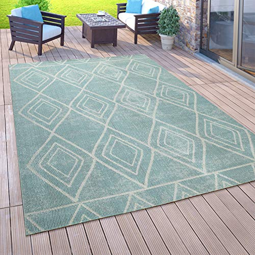 Paco Home Outdoor Teppich Balkon Terrasse Vintage Küchenteppich Orient Muster Rauten Ethno, Grösse:80x150 cm, Farbe:Türkis