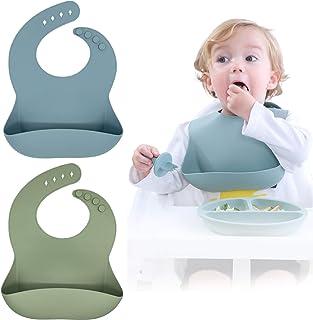 Bibs Baby Blissbury Silicone Bibs Set Of 2، BPA Free Waterproof نرم قابل تنظیم با دوام سیلیکون قابل تنظیم برای نوزادان