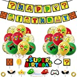 Miotlsy Super Mario Party Supplies Partykette Super Mario Happy Birthday Partykette Super Mario Happy Birthday Banner Balloon Cake Toppers Party Mario Decorations Kit