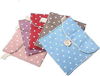 SHOP ONLINE Girl's Cotton Polka Dot Sanitary Napkin Bags Pouch Purse Pad Holder Handbag (Standard) - 2pcs
