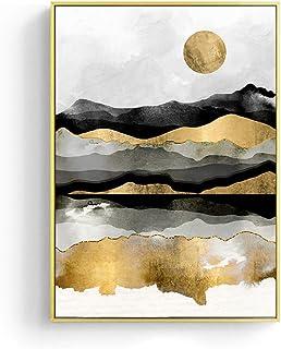 Impresión De La Lona Paisaje Japonés Golden Geometric Mountain Canvas Painting Abstract Poster Print Scandinavian Wall Art Picture For Home Decor, 40X50Cm Sin Marco