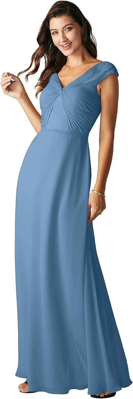 ALICEPUB Twist Front Chiffon Bridesmaid Dresses Long Formal Party Dress for Women Wedding
