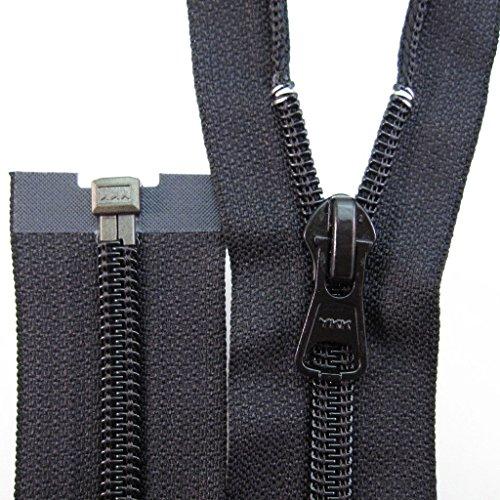 YKK Reißverschluss Spirale 76cm Schwarz teilbar Kunststoff Jacke Mantel Latzhose