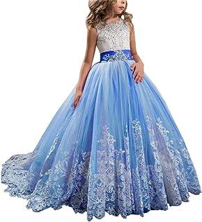 女の子のパーティードレス 子供のレースのウェディングドレストゥチュのプリンセスのドレスガールの誕生日のピアノのドレスふわふわのチュールのドレス フォーマルなパーティーの誕生日の卒業プロムのダンスのボールのドレスドレス (色 : 青, サイズ : 8-9T)