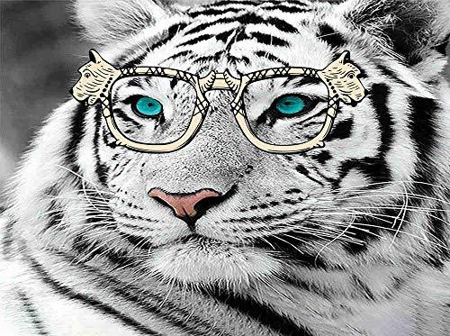 HQHff Retrato de Tigre Blanco Ojos Azules,Puzzles Adultos 500 Piezas 52x38cm,3D Puzzles de Madera Adultos Regalo de Juguete Educativo para niños