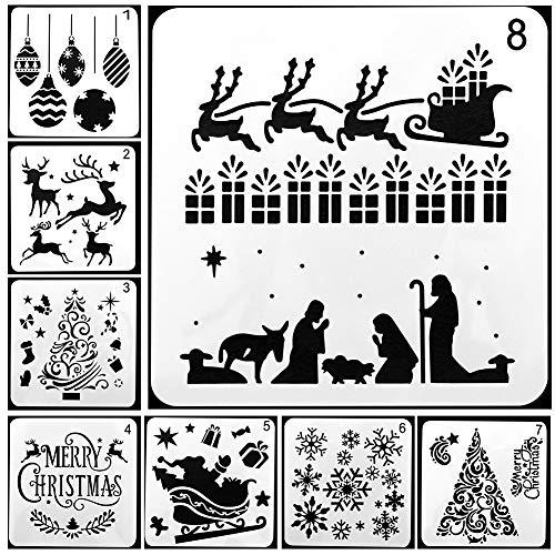 Stencil di Pittura, Stencil di Disegno di Natale, 8 Pezzi Diversi Stili di plastica di Natale in Stile Set di Modelli con Buon Natale per la Pittura Fai-da-Te su Legno, creazione di Carte Artigianali