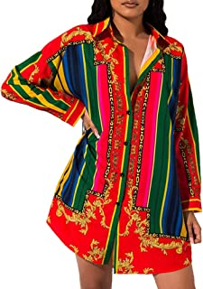 Sexy Collar Shirt Dresses - Fall Fashion African Floral Button Down Shirts Dresses for Women Blouse Tops Mini Dress