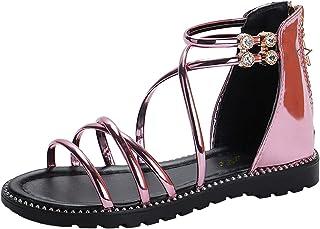914a0d179d25 Lnafan Girls  Glitter Zipper Strappy Open Toe Roman Gladiator Sandals Flats (Toddler Little
