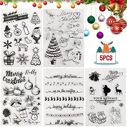 Sello de Navidad,Sello de Goma de Silicona de Navidad,Sellos Transparentes Navidad,Sellos Transparentes Scrapbooking,Sello Feliz Navidad,para decoración de álbumes de fotos / tarjetas (5)