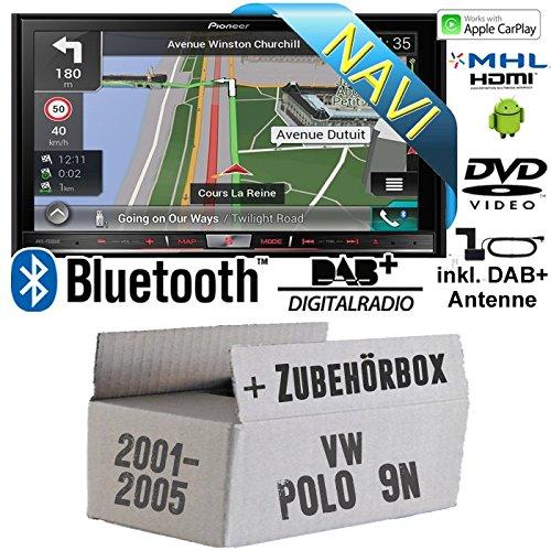 VW Polo 9N - Pioneer AVIC-F80DAB - 2DIN 7 Zoll DAB+ Multimedia Autoradio Navigation inkl. DAB Antenne - Einbauset