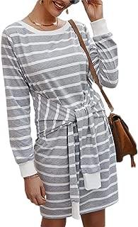 Women's Self Tie Bishop Sleeve Belted Striped Waist Sweater Dress