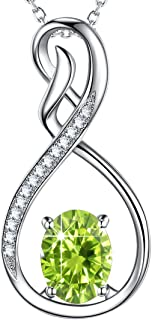 Love Infinity Necklace for Girls Women Birthday Gifts LC Green Peridot Jewelry Sterling Silver 20